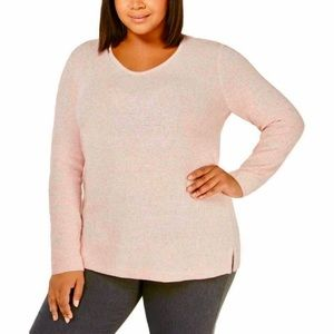 NWT Karen Scott Marled Tunic Sweater Rose Plus 1X